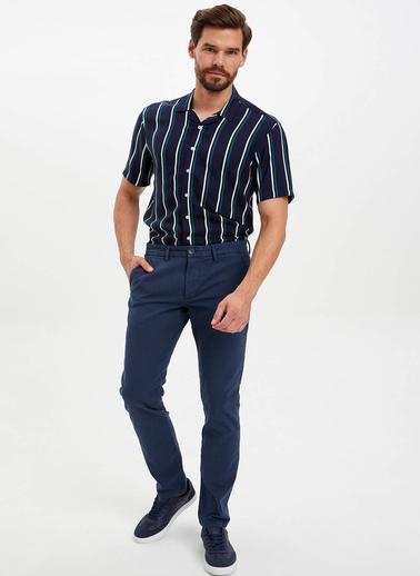 DeFacto Slim Fit Dokuma Pantolon Lacivert